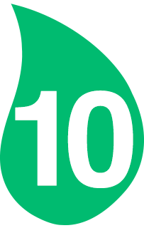 Hoja verde con el número 10