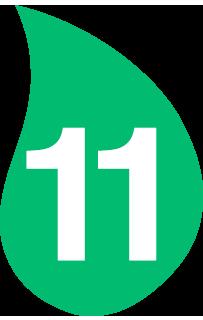 Hoja verde con el número 11