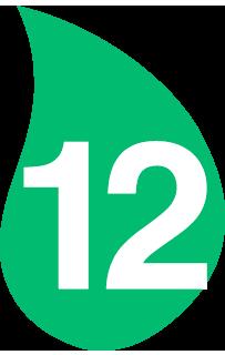 Hoja verde con el número 12